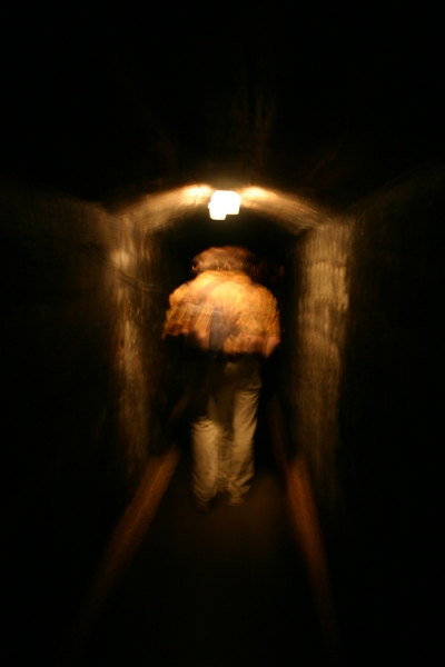 walking through tunnel