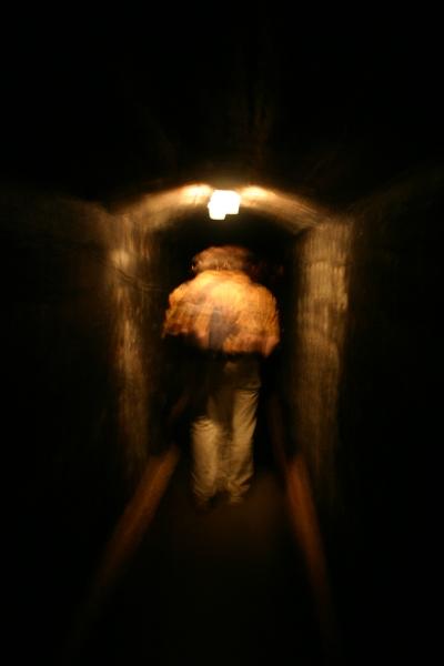 walking through tunnel